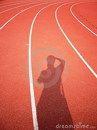 Red track with white curve and human figure shade.