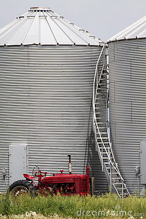 Red Tractor and Silo Stairs