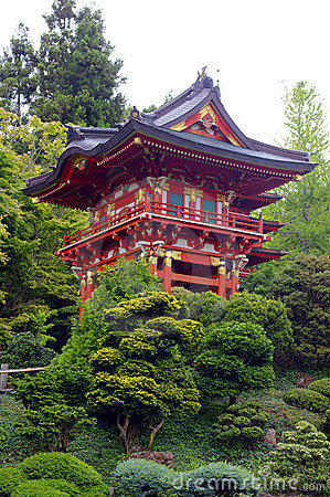 A red traditional Japanese building