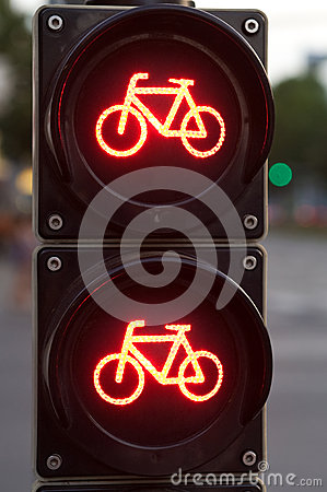 Red traffic light for bicycles