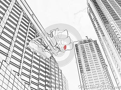 Red traffic light - drawing