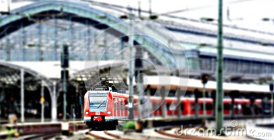 Red Train At A Green Train Station On An Overcast Day Free Public Domain Cc0 Image