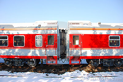 The red train on platform in winter
