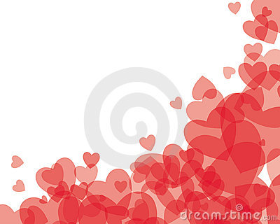 Red transparent hearts