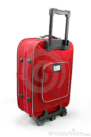 Red travel suitcases