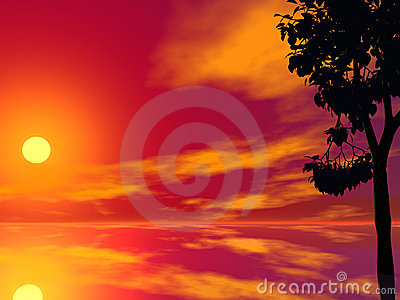 Red Tree Sunset Stock Photo