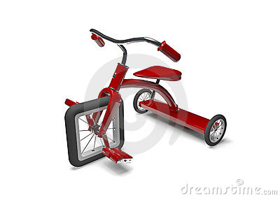 Red tricycle with design flaw