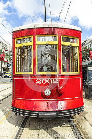 Free Red Trolley Streetcar On Rail In New Orleans French Quarter Stock Photography - 119809932