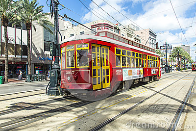 Red trolley streetcar on rail Editorial Photography