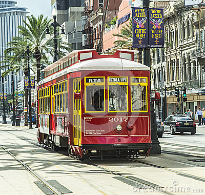 Red trolley streetcar on rail Editorial Image