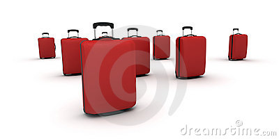 Red trolley suitcases