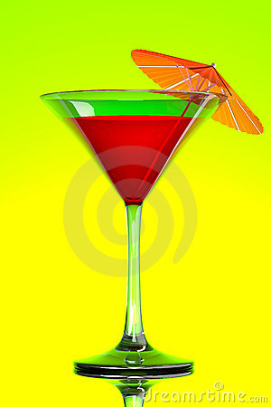 Red tropical martini cocktail with orange umbrella