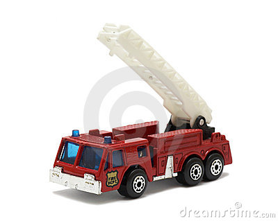 Red truck with crane