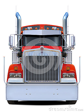 Free Red Truck Kenworth W900 Front View. Stock Image - 74013441
