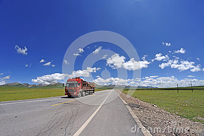 Red truck on the road