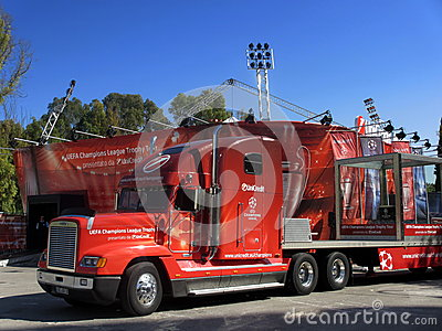 The red truck of the Uefa Champions League Trophy Editorial Stock Photo