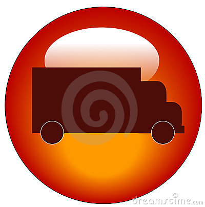 Red truck web icon or button