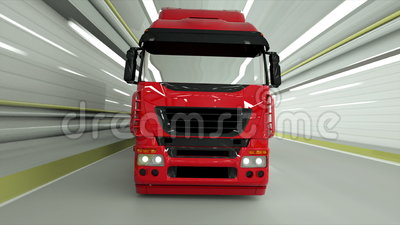 Red truckin a tunnel. fast driving. 3d rendering. Red truckin a tunnel. fast driving. 3d rendering stock illustration