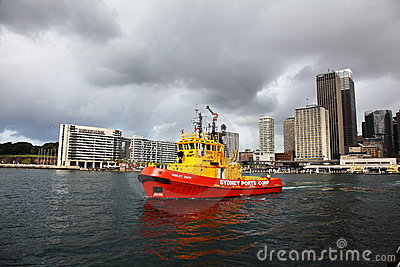 Red Tug boat in Sydney Harbour Editorial Stock Photo