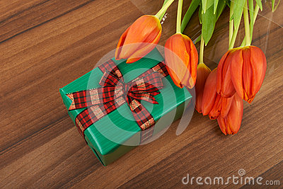 Red tulip flowers on, background Stock Photo