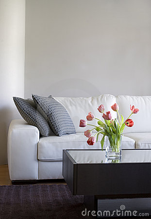 Free Red Tulips In Modern Living Room - Home Decor Royalty Free Stock Photography - 19048387