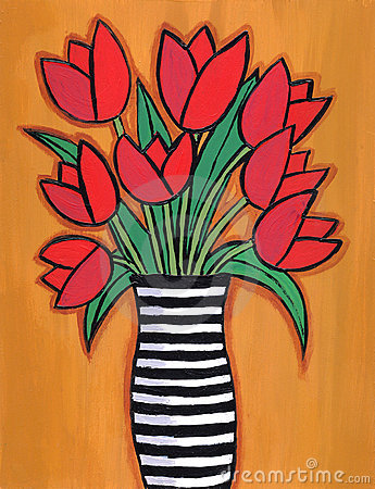 Red Tulips in striped Vase