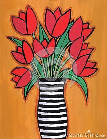 Red Tulips in striped Vase