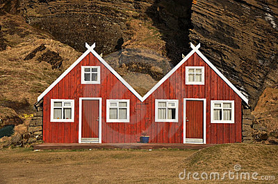 Red turf covered double house, Iceland