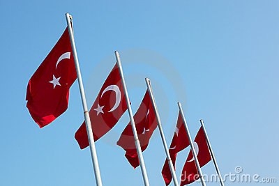 Red Turkish flags