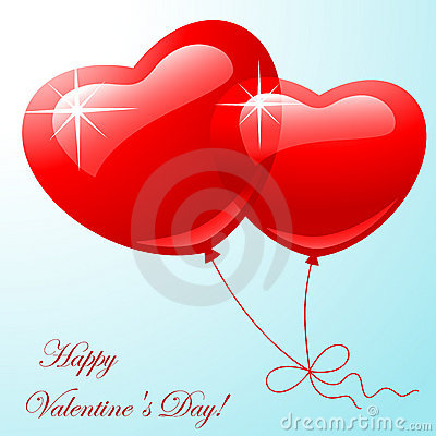 Red two balloon in shape hearts