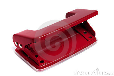 Red two hole office puncher