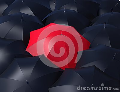 Red umbrella and blacks umbrellas.