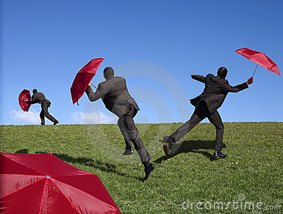Red umbrella man