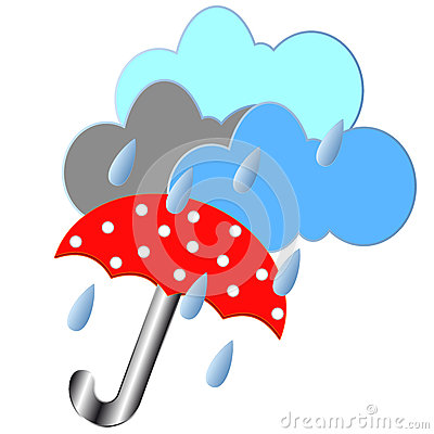 Red umbrella with the rain