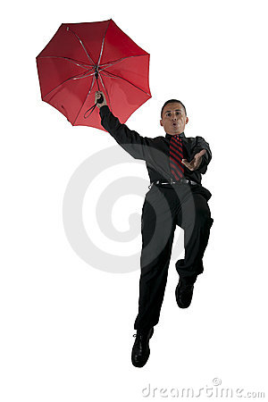Red Umbrella, Red Tie, and Flying man
