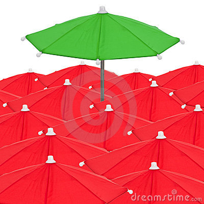 Red umbrellas