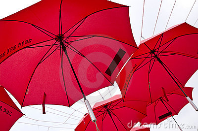 Red umbrellas in Korea
