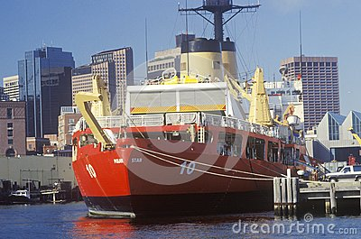 Red United States Coast Guard Ship Editorial Photography