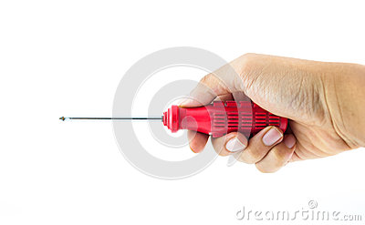 Red used screwdriver