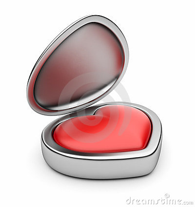 Red valentine heart in box 3D. Isolated