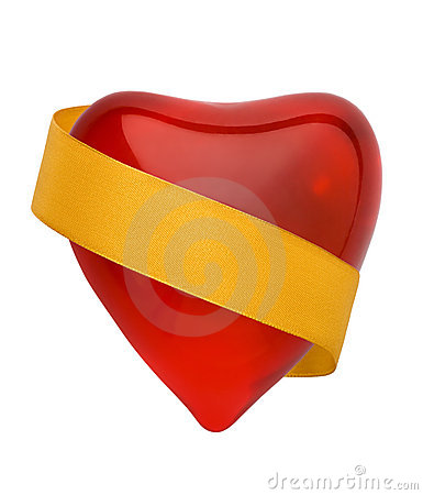Red valentine heart with golde