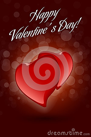 Red Valentine Hearts on Dark Decorative Background