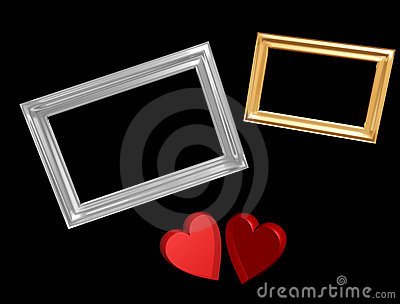 Red valentine hearts with frames