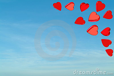 Red valentine hearts with sky