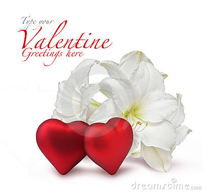 Red Valentine hearts and white lily