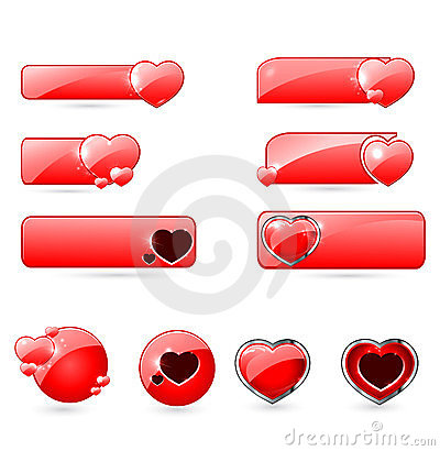 Red valentine s  day buttons set