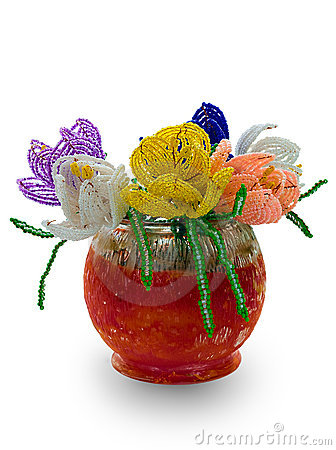 Red vase with flowers from glass beads and wire