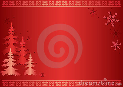 Red vector card with firs