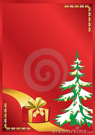 Red vector card with new year tree