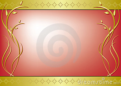 Red vector frame with golden decor